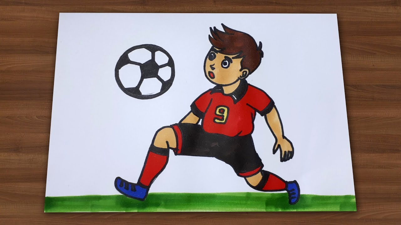 How To Draw A Boy Playing Football Draw For Kids Youtube