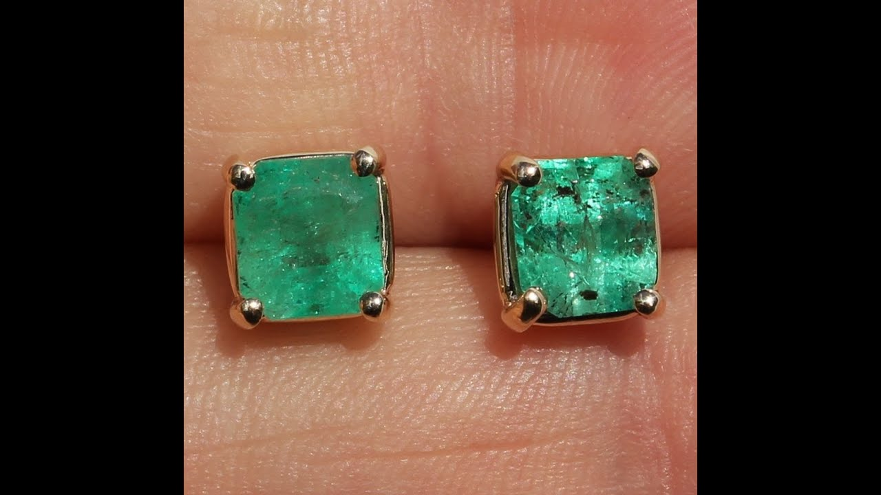 14k Genuine Emerald Stud Earrings No
