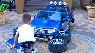 Funny BABY play Magic Toys LEGO Unboxing and Assembling FORD Ranger  Tema ride on Power Wheel car