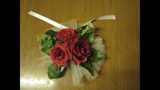 Как сделать украшение на ручки свадебных машин из фатина своими руками