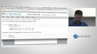 Cython: Speed up Python and NumPy, Pythonize C, C++, and Fortran, SciPy2013 Tutorial, Part 1 of 4(Presenter: Kurt Smith Description Cython is a flexible and multi-faceted tool that brings down the barrier between Python and other languages. With cython, you ..., 2013-06-27T16:51:15.000Z)