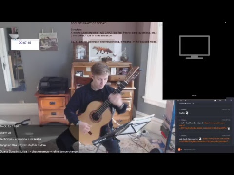 Morning classical guitar practice. Hour 1 = warm up/technique. Hour 2 = Rep