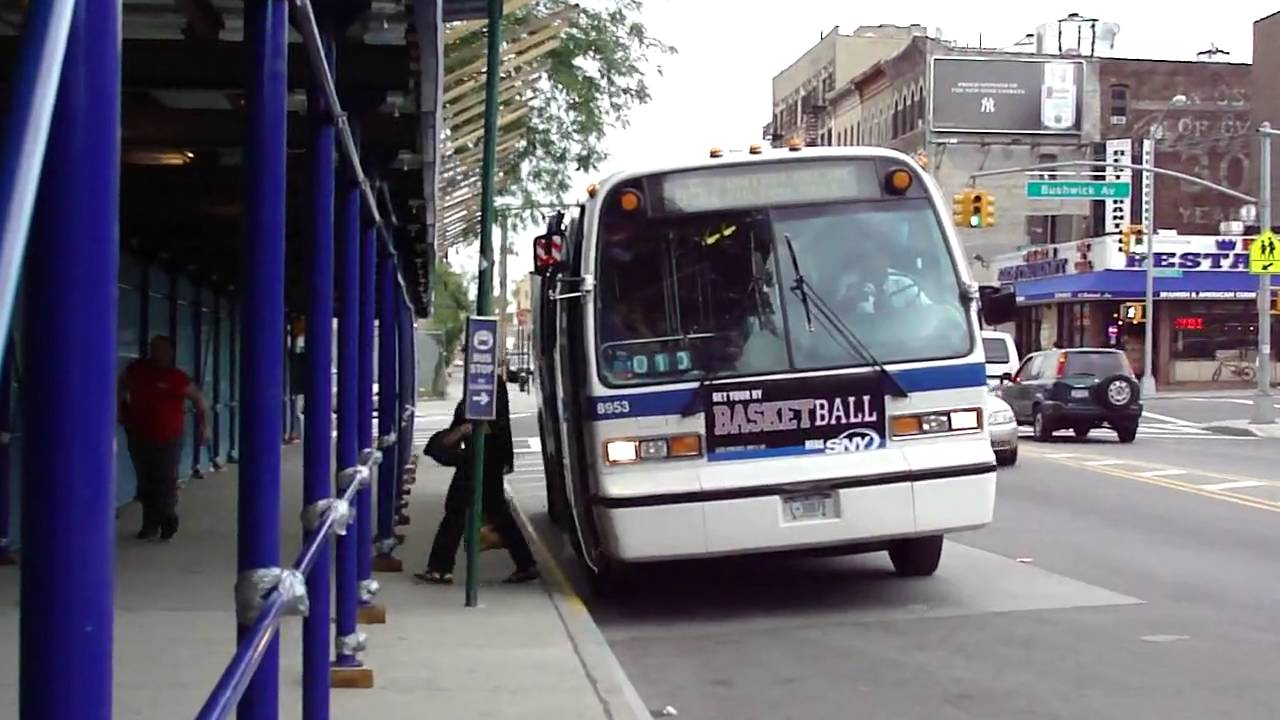 MTA NYC Bus: 1996 Nova-RTS B57 Bus #8953 At Bushwick Ave