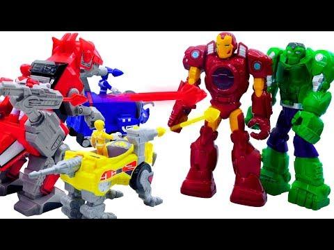 Power Rangers & Marvel Avengers Toys Pretend Play | Superhero Zords Attack