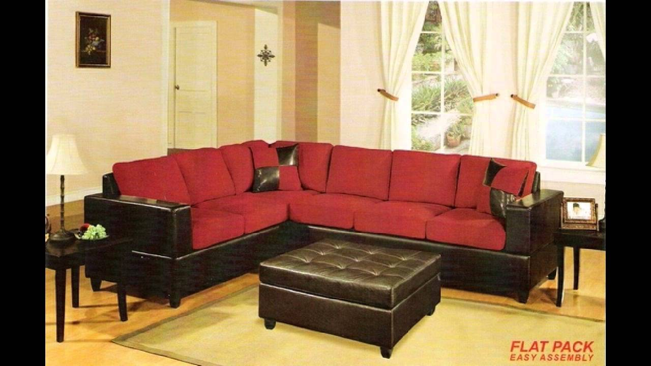 2 Pc Red Microfiber Two Tone Reversible Sectional Sofa With Free Pillows -  YouTube