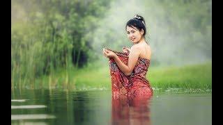 Cambodia Girl Swim Follow And Catch Fish And Shrimp