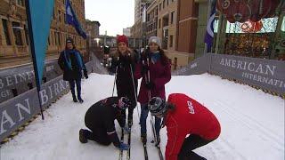 Nancy Kerrigan Learns to Cross Country Ski at Super Bowl