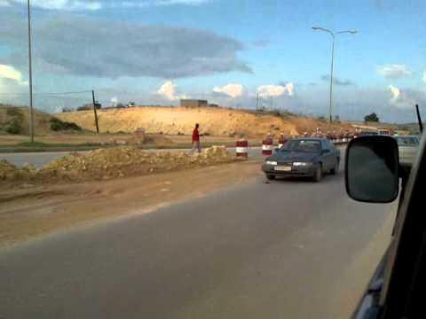 Libya Road Works stuck in traffic