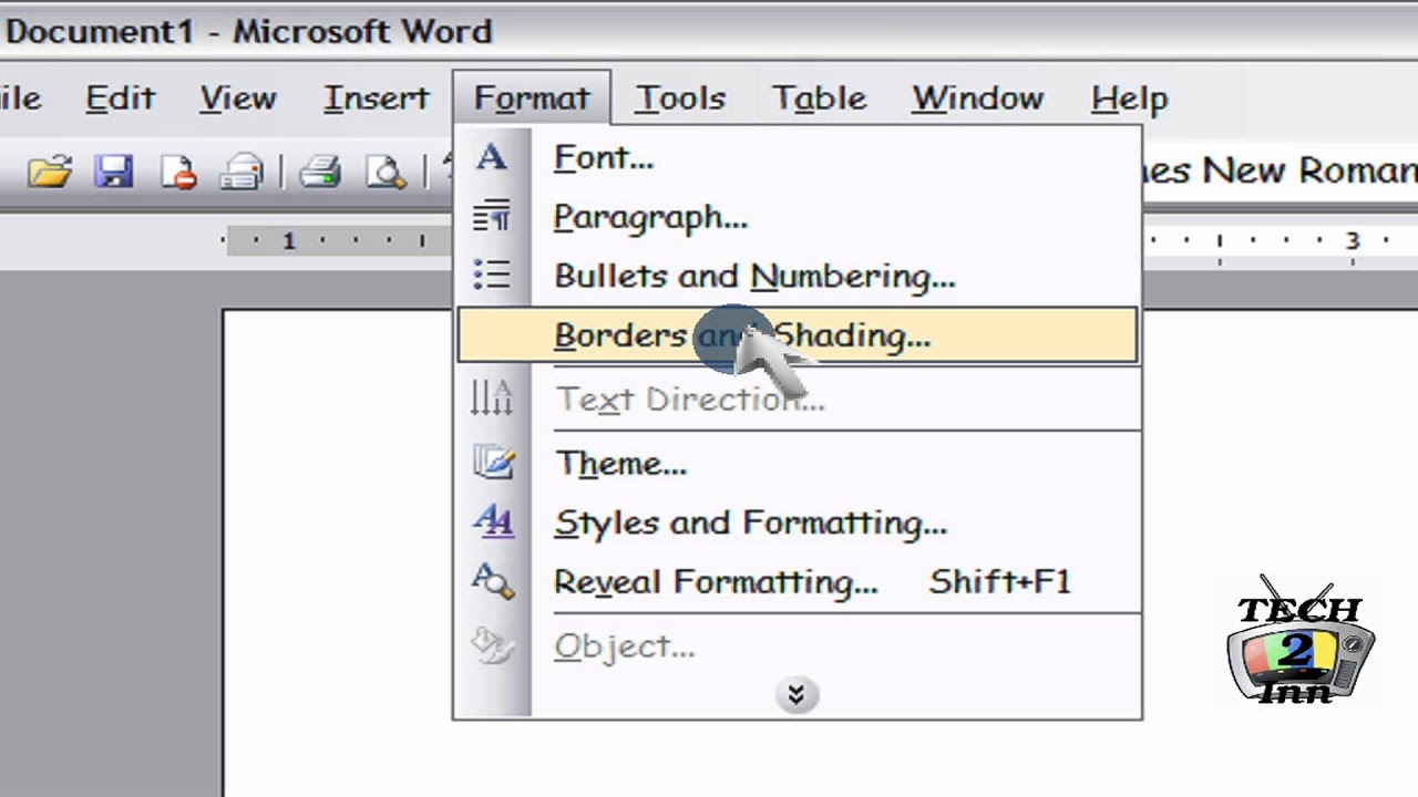 how to set page borders in microsoft office word 2003