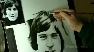 Speed Drawing Portrait Robert De Niro Dry Brush