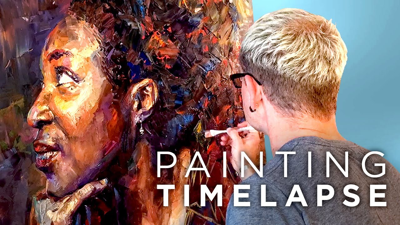 face to face female portrait oil painting timelapse studio sneak