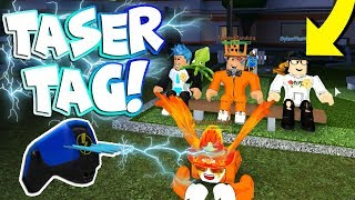 YOUTUBER TASER TAG IN JAILBREAK! (Roblox FREEZE TAG)