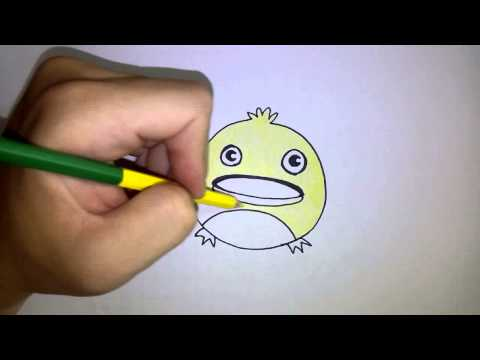 สอนวาดรูป ระบายสี การ์ตูน เป็ด วาดง่ายๆ วาดการ์ตูนกันเถอะ
