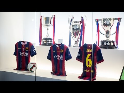 The treble space at FC Barcelona Museum