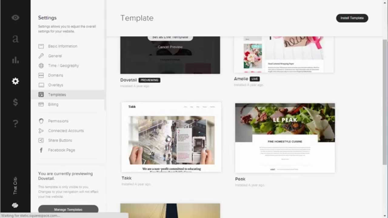 how to change your squarespace template for your website website builders critic youtube. Black Bedroom Furniture Sets. Home Design Ideas