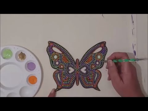 Dot painting with Artist Janette Oakman 20 Wooden Butterfly Pointillism Dot Art