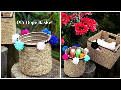 DIY Rope Basket | How to upcycle plastic bottles/cardboard boxes into pretty baskets.