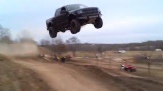 Ford Raptor jumps 90 feet!