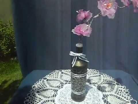 Tutorial centro de mesa con botella finalizado youtube - Centros de mesa con botellas ...