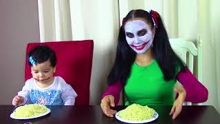 Joker Girl & Bad Baby Joker Girl vs Spiderman & Elsa funny superhero video