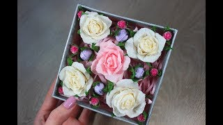 Композиция с розами и орешками из бумаги в коробочке / Подарок своими руками СВИТ-БОКС