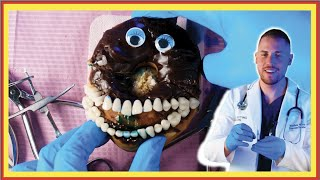 New Emergency Surgery on a Donut! Discount Dentist Ep 166 #Shorts
