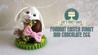 Fondant Easter Bunny Cake Topper Chocolate Egg How To Make Fondant Bunny Tutorial Cake Decorating