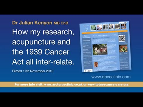 """Dr Julian Kenyon MB ChB """"How my research, acupuncture and the 1939 Cancer Act all inter relate """""""