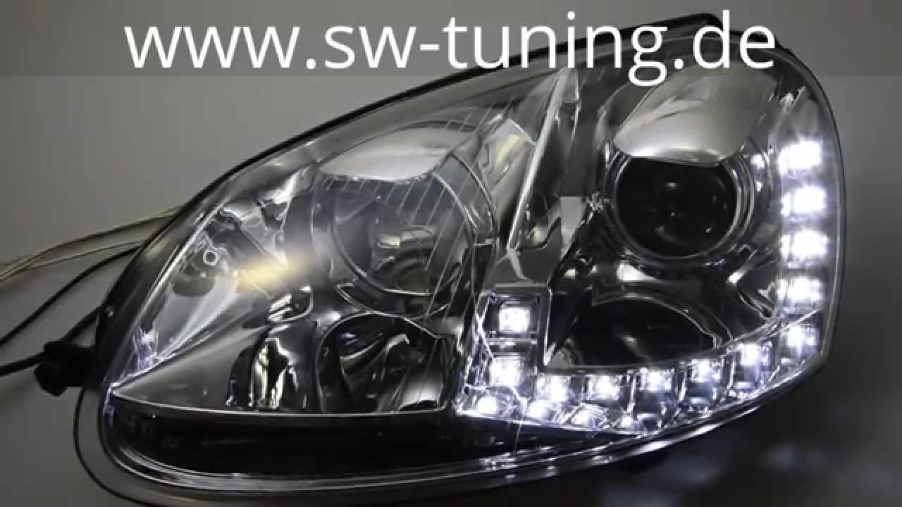swdrl scheinwerfer f r vw golf v led tagfahrlicht chrome sw tuning youtube. Black Bedroom Furniture Sets. Home Design Ideas