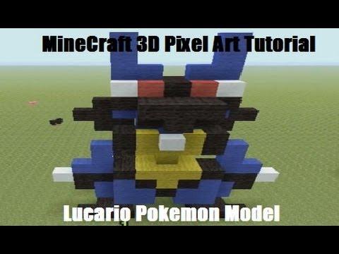 MineCraft 3D Pixel Art Tutorial - Lucario Pokemon Model - YouTube