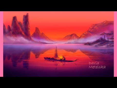 Beautiful Sunset, Landscape Illustration. Красивый закат, иллюстрация горное озеро.Пейзаж в фотошопе