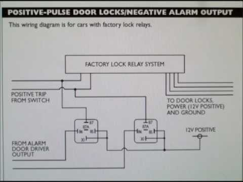 how to wire a positive type door locking system with car alarm - outputs -  youtube