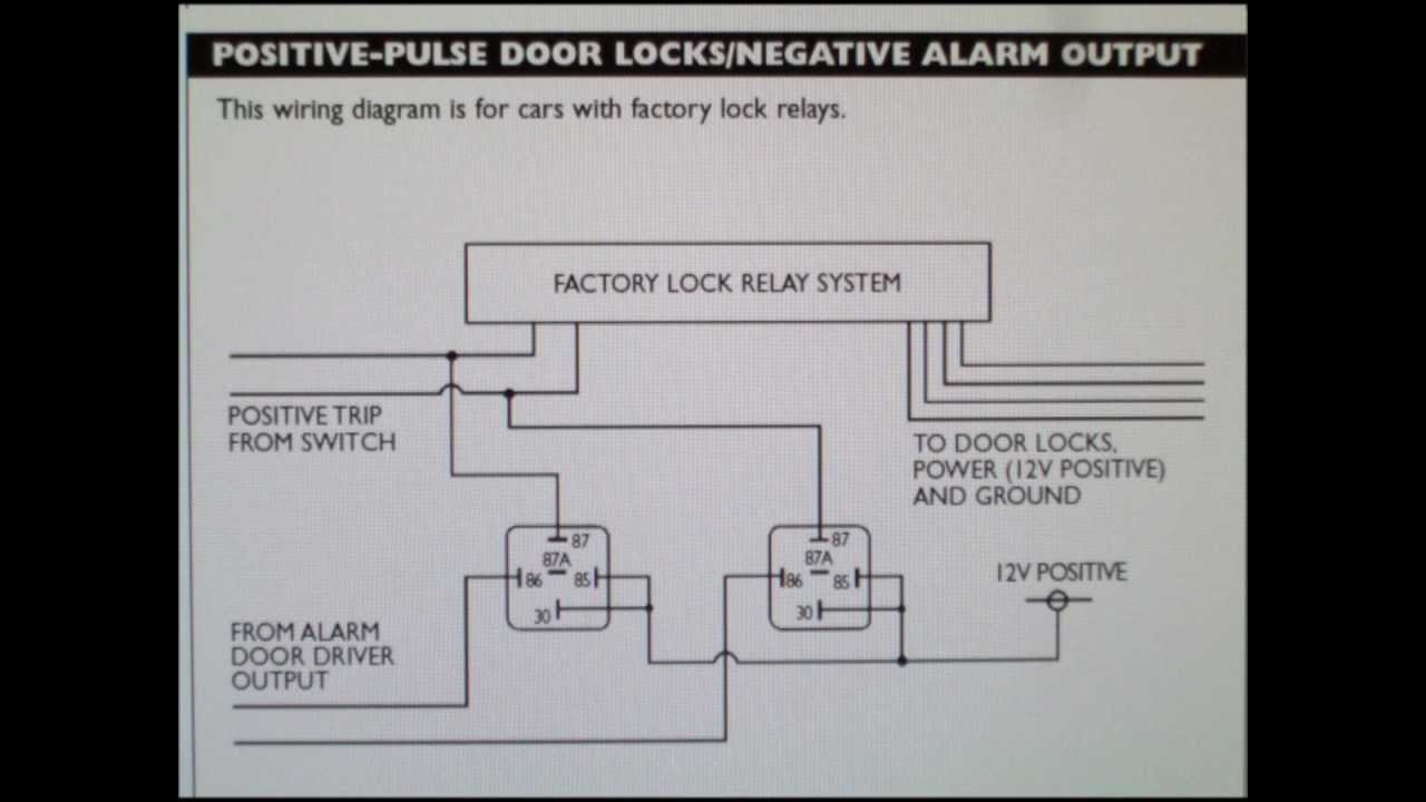 how to wire a positive type door locking system with car alarm outputs youtube. Black Bedroom Furniture Sets. Home Design Ideas