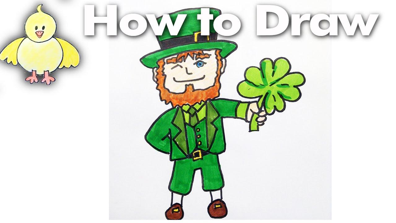Drawing How To Draw a Cartoon Leprechaun for Saint Patricks Day