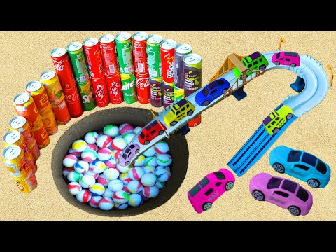 Toy Cars vs Trucks and Slide - Difference Coca Cola, Difference Fanta, Mirinda, Pepsi vs Mentos