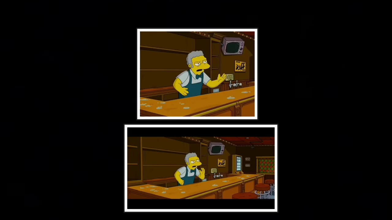 Full Screen Vs Widescreen The Simpsons Movie Scene Curse Of Moe S Bar Youtube