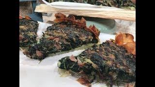 Tarta de espinaca y hongos en base de papa