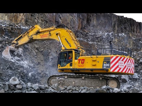 Mining Spec Komatsu PC800LC Excavator Working In A Quarry