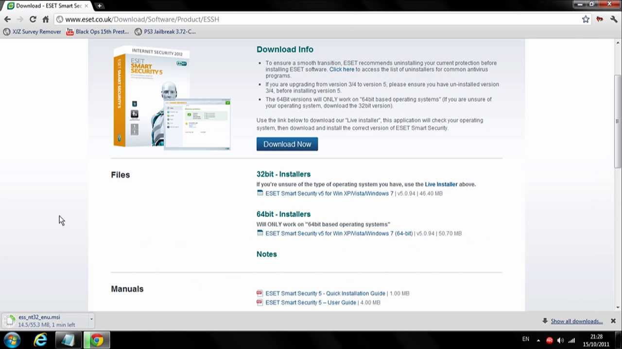 Eset Smart Security 5 Download And Install (Including User And Pass)