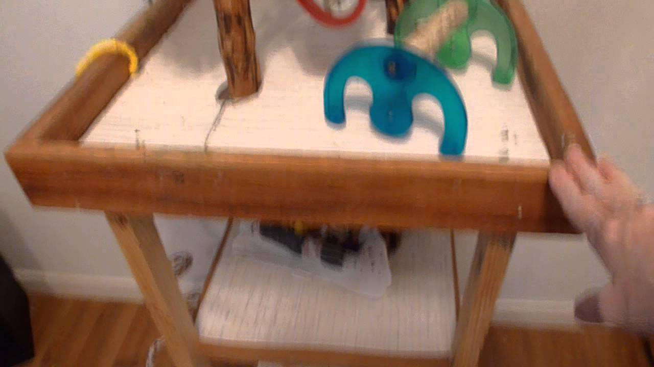 Homemade bird toys bird stand cleaning tips youtube for How to build a bird stand