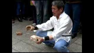 Elderly Gives Shrinking Bone Kungfu Show, Standing on Eggs, Bean Curd