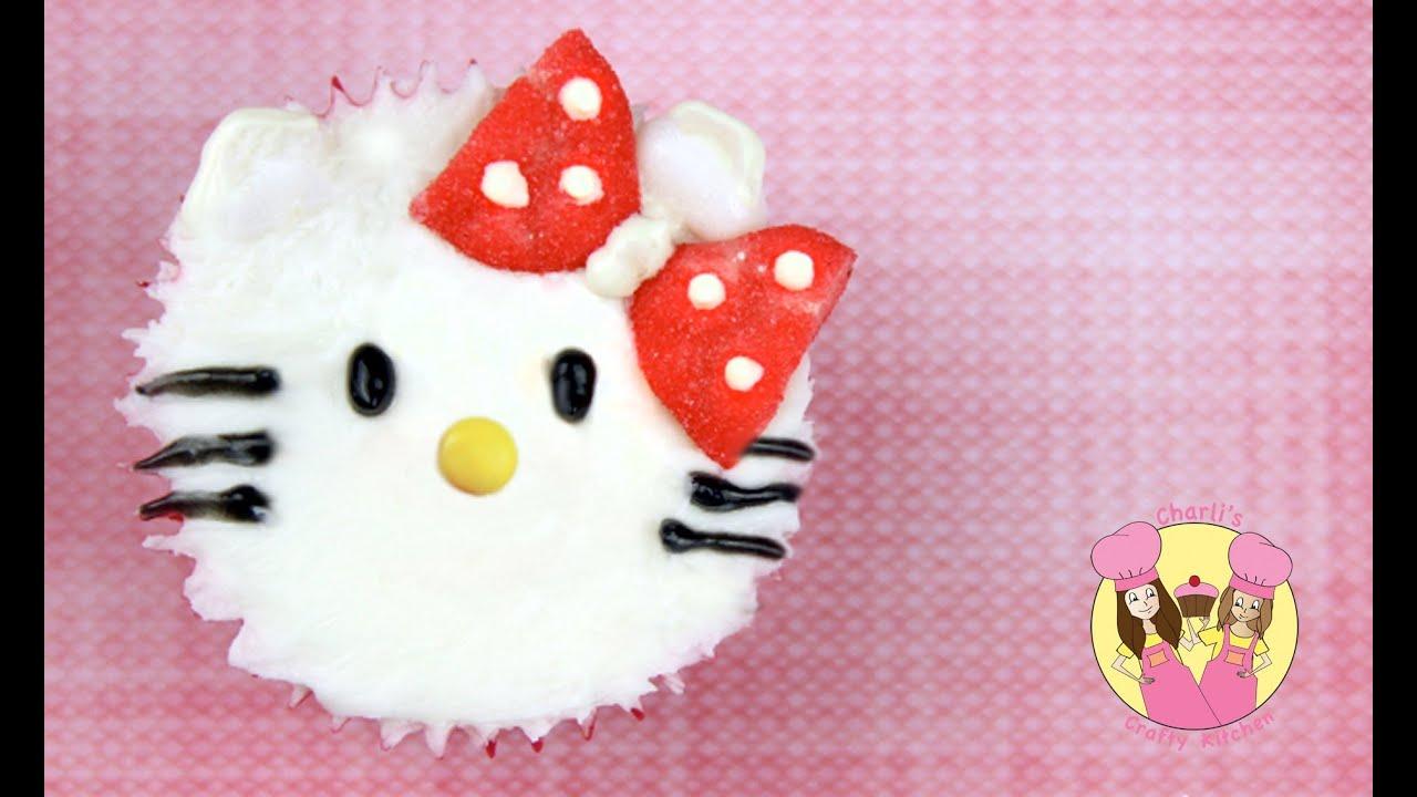 e63de435227d Hello Kitty Cupcake decorating tutorial - easy and cute - no fondant  required
