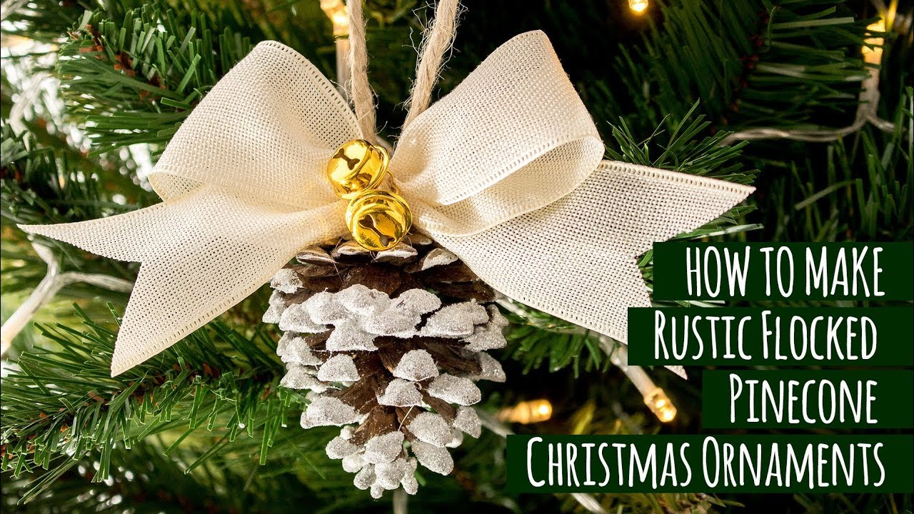 diy rustic flocked pinecone christmas ornaments - Pine Cone Christmas Tree Decorations