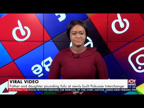 Viral Video: Father and daughter arrested for pounding fufu on Pokuase Interchange (26-8-21)