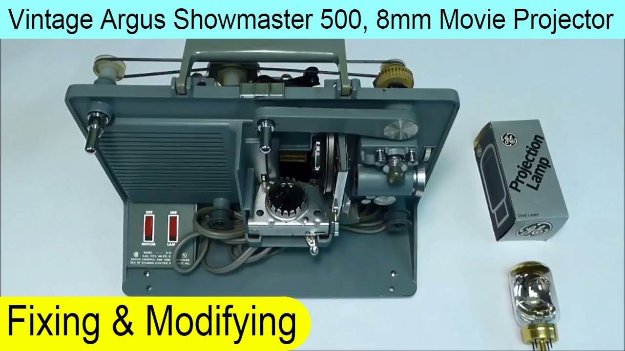 How to Fix and Convert Vintage Argus Showmaster 500 Movie Projector 8mm to  use DFF lamp