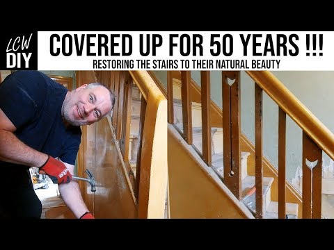 Removing Hardboard Panels from Stairs After 50 Years!! - DIY Vlog #23
