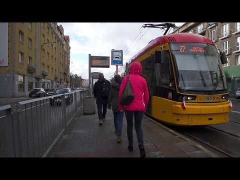 Poland, Warsaw, ride with tram No 27 from Sokolowska 03 to Marymont metro station, 1X elevator