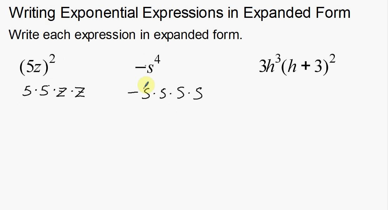 Writing Exponents in Expanded From - YouTube