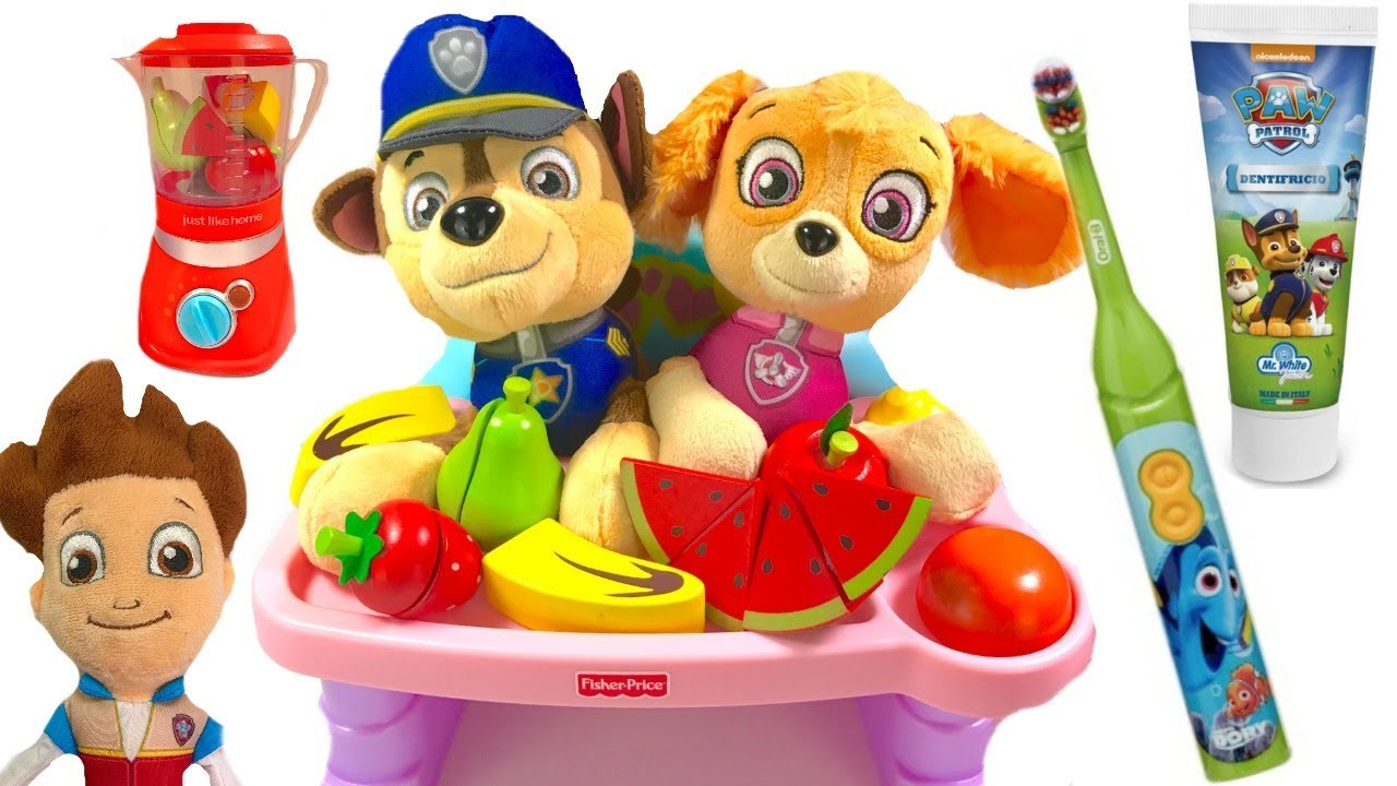 Fizzy Fun Toys: Paw Patrol Skye And Chase Eat Fruits & Vegetables & Brush