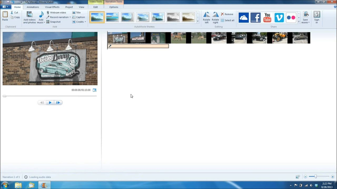 Windows movie maker narration music
